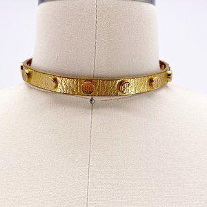 Tory Burch Leather Logo Monogram Choker Necklace